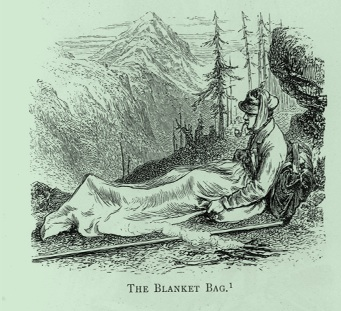 Old engraving of a bivouac with a blanket bag