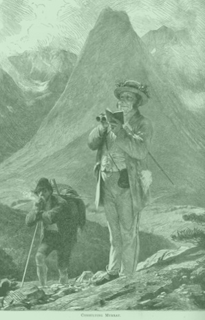 Old engraving of a mountain trip