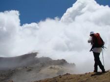 À l'approche du cratère