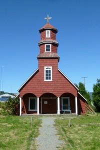 Une église typique de l'île de Chiloé (Chili)