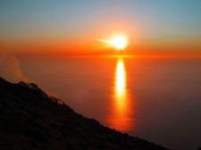 Coucher de soleil depuis la terre
